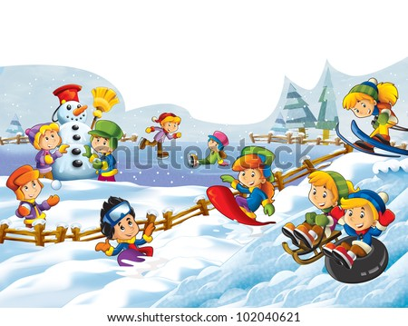 Winter Fun Kids Stock Illustration 102040621 - Shutterstock