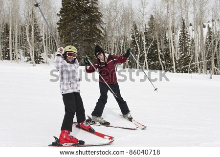 Winter Fun on the Ski Slopes - stock photo
