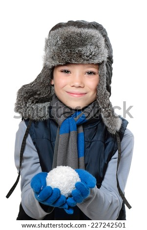 Winter fur hat clothing child boy with snowball in hand on white background - stock photo