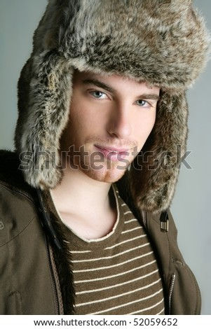 winter fur hat portrait of fashion young handsome man