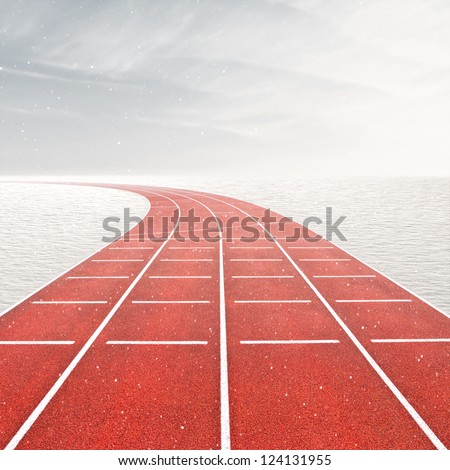 Winter games template with running track in snow landscape - stock photo