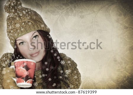 winter girl and cup of tea