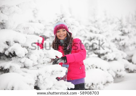 winter girl behind