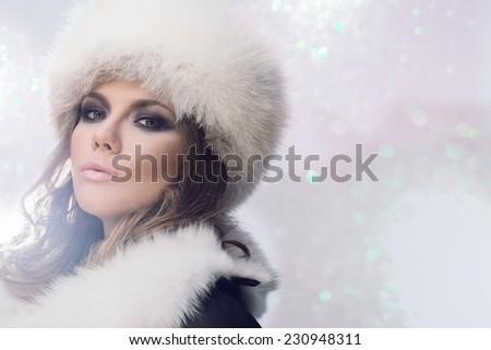 Winter Girl in Luxury Fur Coat - stock photo