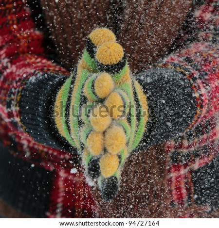 Winter gloves Clap your hands if you like winter! - stock photo