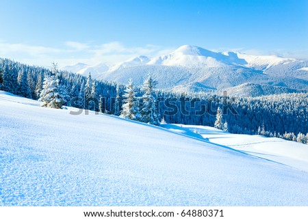 Winter Goverla Mount view and snow surface on mountainside in front.  (Carpathian Mountains, Ukraine) - stock photo