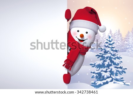 winter greetings, snowman holding blank banner, looking out the corner, Christmas tree background, Happy New Year - stock photo