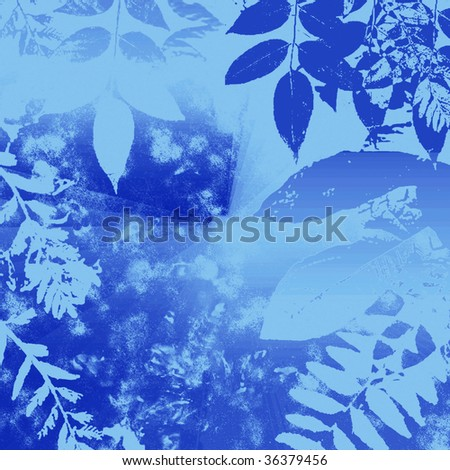 Winter Grunge Leaves Silhouette - stock photo