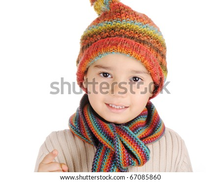 Winter happiness, fashionable kid, boy with hat and shovel, portrait, isolated - stock photo