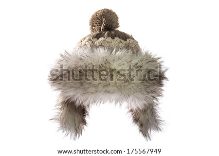 winter Hat isolated on white - stock photo