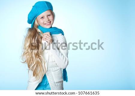 winter hat wool scarf girl fashion - stock photo