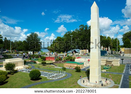 WINTER HAVEN, FL - June 18, 2014: Lego model of Washington, D.C., at Legoland Florida on June 18, 2014, in Winter Haven, FL. - stock photo