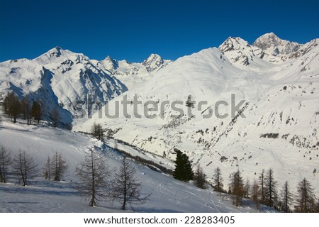 Winter high mountains, Alps, France