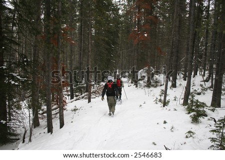 Winter hiking on a snow covered trail - stock photo