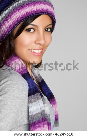 Winter Hispanic Girl - stock photo