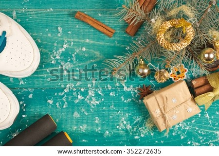 Winter holiday background for followers of right life style. - stock photo