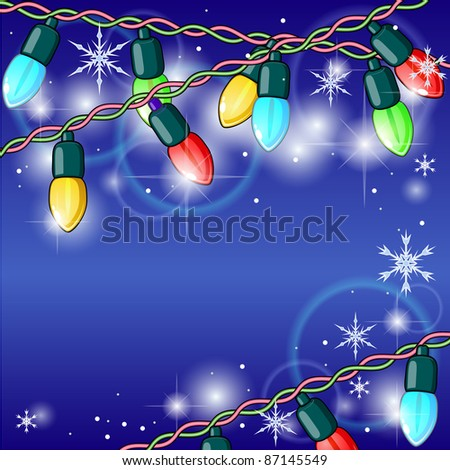 Winter holiday background with shining Christmas lights