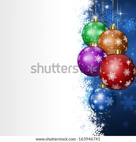 winter holiday christmas balls background with white spot