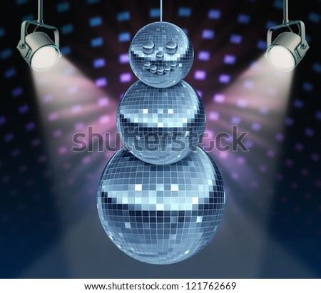 Winter holiday music symbol with Dance night disco balls as a mirror sphere in the shape of a snowman for festive fun and new year celebrations dancing party in a nightclub or dance club with lights. - stock photo