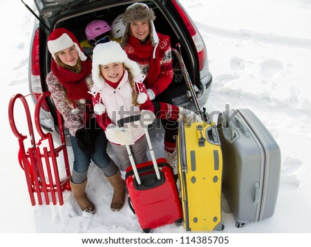 Winter holiday, ski, travel - family with baggage ready for the travel for winter holiday - stock photo