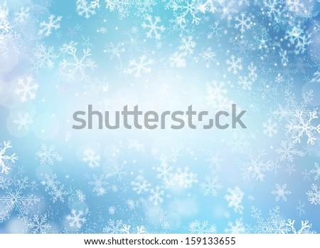Winter Holiday Snow Background. Christmas Abstract Backdrop with Snowflakes. Blue Color - stock photo