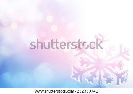 Winter Holiday Snow flake Background, Bokeh. - stock photo