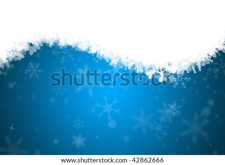 Winter holiday snowflake background with space for text - stock photo