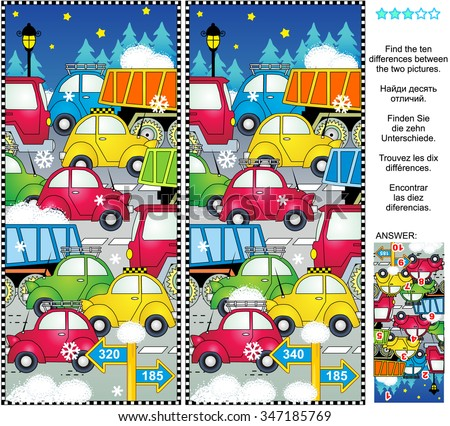 Winter holiday traffic picture puzzle: Find the ten differences between the two pictures of cars and trucks on the road. Answer included.