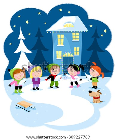 Winter holidays - Christmas carol - Snowy background with cute little kids - stock photo