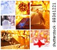 Winter holidays concept collage with collection of colorful Christmas gift boxes decorations & ornaments - stock photo