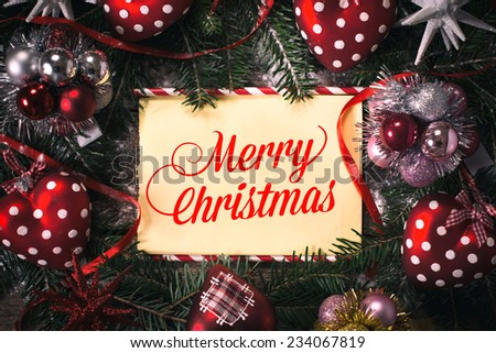 Winter holidays decorations with Merry Christmas text in the middle  - stock photo