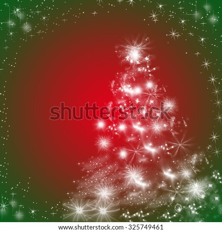 Winter holidays greeting card background with Christmas tree, snowflakes and stars, in red, green and white. Copy space.