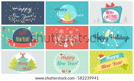 Vector Set Cards Christmas Sale Backgrounds Stock Vector 511981075 ...