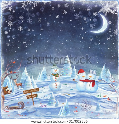 Winter holidays landscape with Snowmen in forest. Merry Christmas and Happy new year background  - stock photo