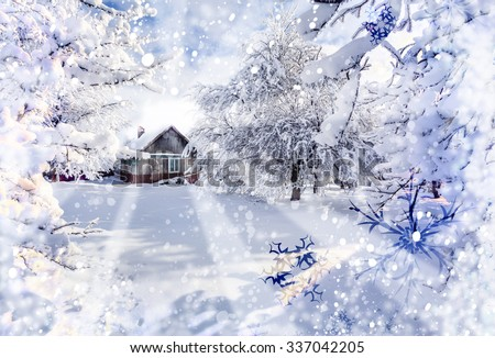 Winter holidays postcard stylization. Winter fairytale, heavy snowfall covered the trees and houses in the mountain village.  - stock photo
