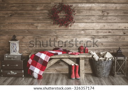 winter home decor christmas rustic interior の写真素材 今すぐ編集