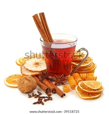 Winter hot drink with spices isolated on white background - stock photo