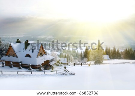 winter house mountain - stock photo