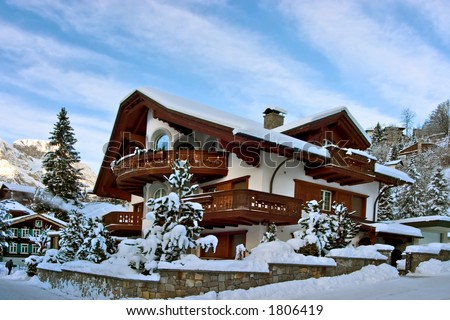 Winter house. Perfect place for Xmas, celebrate the new year or winter vacations. - stock photo