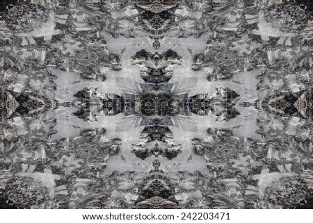 Winter ice kaleidoscope pattern background - stock photo