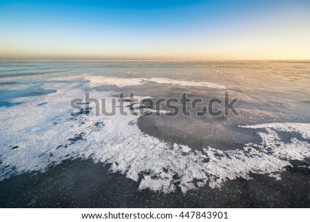 Winter ice landscape. Nature composition. - stock photo