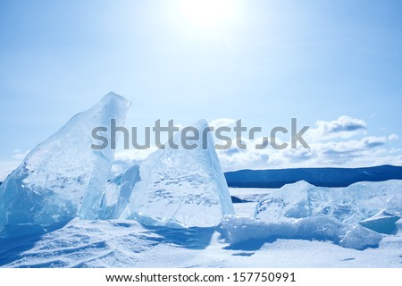Winter ice landscape on  lake Baikal  - stock photo