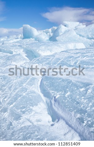 Winter ice landscape on siberian lake Baikal