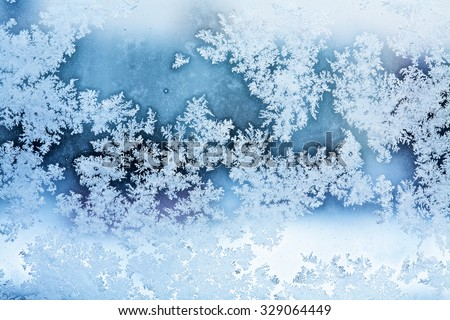 winter ice rime abstract background - stock photo