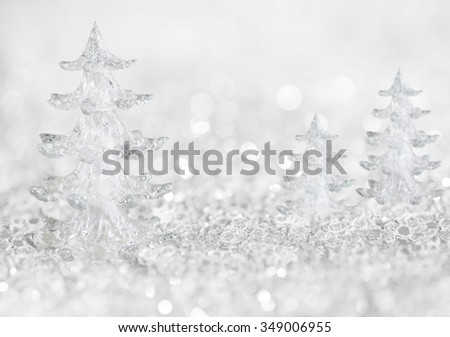 Winter ice trees background with abstract lights