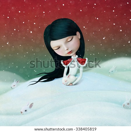 Winter illustration or poster or greeting card with little girl and bunny.  - stock photo