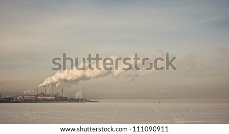 Winter in a small town - stock photo