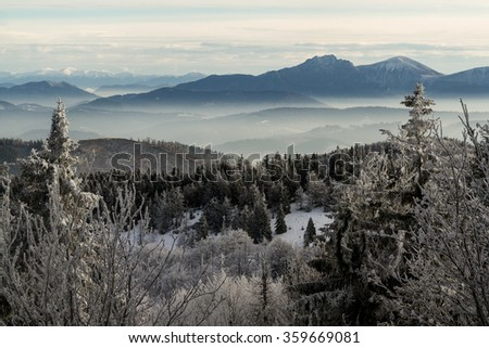 Winter in Beskidy Mountains , Poland - stock photo