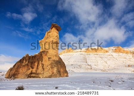 Winter in Cappadocia,Anatolia - stock photo