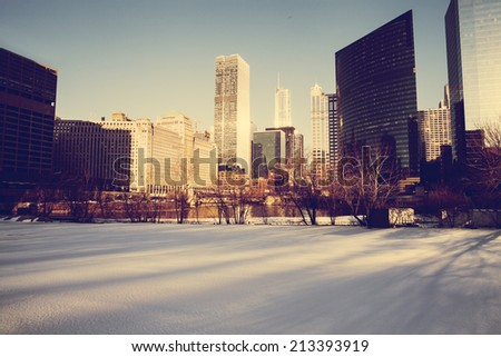 Winter In Chicago - stock photo